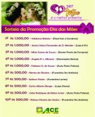 Lista dos Ganhadores da Promoção Dia das Mães